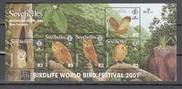 Seychelles  2001,5V In Block,owls,uilen,birds,vogels,vögel,oiseaux,pajaros,uccelli,aves,MNH/Postfris(L3382) - Uilen