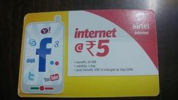 India-airtel-internet-(5 Ruppia)-(12a)-31.3.2016-used Card+1 Card Prepiad Free - India