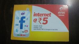 India-airtel-internet-(5 Ruppia)-(13)-31.8.2016-used Card+1 Card Prepiad Free - India