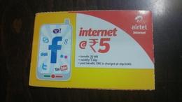 India-airtel-internet-(5 Ruppia)-(14)-31.1.2017-used Card+1 Card Prepiad Free - India