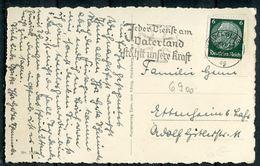"""CPSM S/w Photo AK German Empires Heidelberg 1939 Mit Propaganda MWST""""Heidelberg-Jeder Dienst Am Vaterland.... """"1 AK Used - Poststempel - Freistempel"""