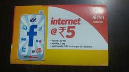 India-airtel-internet-(5 Ruppia)-(15)-31.3.2017-used Card+1 Card Prepiad Free - India
