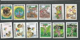 CONGO Scott 747-8, 752-3, 762-3, 764-6, 754-6 Yvert 769-0, 774-5, 787-8, 784-6, 776-8 (12) ** Cote 8,20 $ 1986 - Congo - Brazzaville