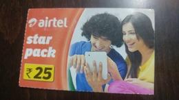 India-airtel-star Pack-(25 Ruppia)-boy & Gril-(16)-30.11.2016-used Card+1 Card Prepiad Free - India