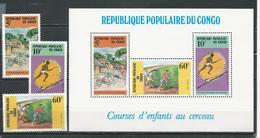 CONGO Scott 749-751, 751a Yvert 776-778, BF40 (3+bloc) ** Cote 4,00 $ 1986 - Congo - Brazzaville