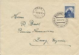 PRAG / BUDWEIS - 1942 , Brief Nach Zuoz / Engadin - Briefe U. Dokumente