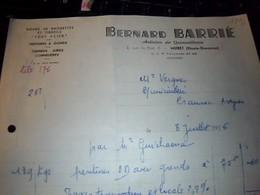 Facture   Roues De Brouettes  Et Tirefils  Peintures ... Bernard  Barrié A Muret  Hte Garonne Annee 1955 - 1950 - ...