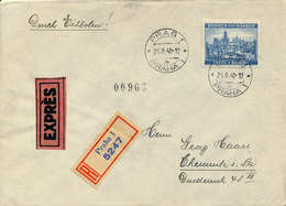 PRAG  - 1940 , Express R-Brief Nach Chemnitz - Briefe U. Dokumente