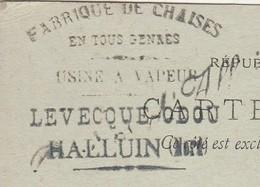 Carte Commerciale 1898 / Entier / LEVECQUE ODOU / Fabrique De Chaises / 59 Halluin Nord - Otros