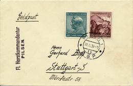 PLZEN  C.S.P. - 31.III.1939 , Brief Nach Stuttgart - Mischfrankatur  CSSR Und Deutsches Reich - Briefe U. Dokumente