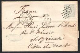 NEDERLAND NVPH 22H Op Brief 1877 Rotterdam > St. Brieuc France  Grensstempel Pays Bas ? A Paris Achterzijde Abklatsch - Periode 1852-1890 (Willem III)