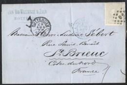 NEDERLAND NVPH 22H Op Brief 1877 Rotterdam > St. Brieuc France  Grensstempel Pays-Bas Erquelines Treinstempel / Ambulant - Periode 1852-1890 (Willem III)