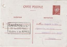 Carte Commerciale 1942 / Entier 1F20 Pétain / Carénou / 30 Nîmes Gard - Cartes
