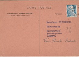 Carte Commerciale 1948 / Laboratoires SAINT-LAURENT / Commande Herboristerie 300 Kg Bourdaine / 69 Ste Foy L'Argentière - Cartes