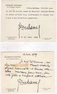 Deux Cartes Lettres De Georges Duhamel, Médecin, écrivain Et Poète Français écrites En 1959 Et 1962 - Autographs