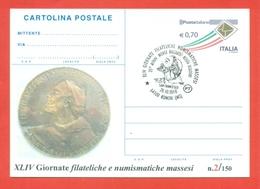 INTERI POSTALI-CARTOLINA POSTALE -SOPRASTAMPA PRIVATA-EVENTI VARI-RONCHI-RICCARDO ROSSI-SCULTORI-MARCOFILIA - 6. 1946-.. Republic