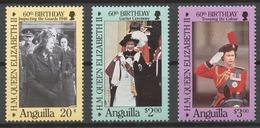 Anguilla 1986 Mi# 697-99** QUEEN ELIZABETH II, 60th BIRTHDAY - Anguilla (1968-...)