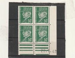 FRANCE Coin Daté  ** N° 508 Pétain 50 Cts - Dated Corners