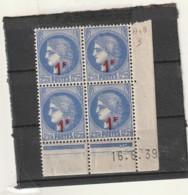 FRANCE Coin Daté  ** N° 487 Cérés Bleue Surchargée - Dated Corners
