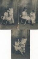 3 Cartes Photos - Enfants - Pierrot Et Colombine (Mars 1921) - Personnes Anonymes