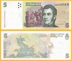 Argentina 5 Pesos P-353a ND (2003) (Suffix H) Sign. Del Pont & Boudou UNC - Argentine