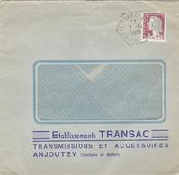LSC 1963 - Cachet Hexagonal Perlé BELFORT  CP N° (5 ?)  - Ets TRANSAC  - ANJOUTEY (Territoire De Belfort) - Aushilfsstempel