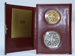 1988 Belgian ECU Coffret En Cuir - 50 ECU Or & 5 ECU Argent - Belgium