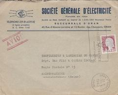 """LSC 1962 - Entête Societé Générale D'Electricité Et Cachet ORAN Et Flamme """" Qualité France Produit D'Algérie."""" - Algeria (1924-1962)"""