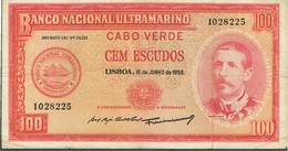 PORTUGAL-BANKNOTES-CABO VERDE--100$00.--16 JUNHO 1958 - Cap Vert