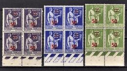 FRANCE 1941 - LOT 3 BLOCS DE 4 TP  Y.T. N° 478 / 479 / 480 - NEUFS** - France