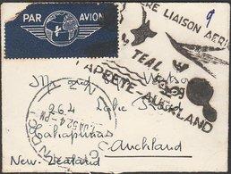 TAHITI FRENCH OCEANIA - NEW ZEALAND MULTIFRANKED LADY'S ENVELOPE TEAL AIRMAIL - Tahiti