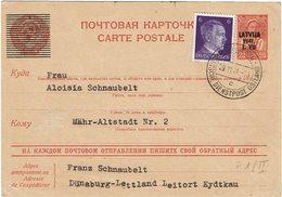 LSAU13 - II GM  EP CP RUSSE SURCH.LETTONIE OCCUPATION ALLEMANDE CIRCULEE 29/11/1941 - Deutschland