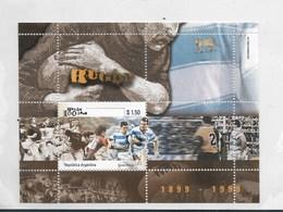 ARGENTINA YEAR 1999 RUGBY ARGENTINE UNION 100 YEARS, CENTENARY, SOUVENIR SHEET SCOTT 2065 MICHEL BL62 - Argentina