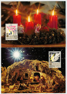 3 CARTOLINE  MAXIMUM    CHRISTMAS      (TIMBRATA) - Cartoline Maximum
