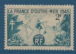 FRANCE 1945 - YT N°741 - 2 F. Bleu-vert (453) - La France D'Outre-mer - Neuf** - TTB Etat - France