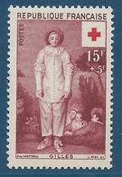 FRANCE 1956 - YT N°1090 - 15 F. + 5 F. Brun-olive - Au Profit De La Croix-Rouge - Gilles Par Watteau - Neuf** - TTB Etat - Nuevos