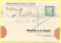 Deutsches Reich - 1925 - 5 Rheinland + Flamme - Stadteinnehmerei Neustadt A. D. Haardt - Mahnung - Viaggiata Da Neustadt - Storia Postale