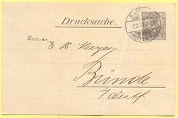 Deutsches Reich - 1902 - 3 - Postkarte - Drucksache - Viaggiata Da Barmen Per Bünde - Germania