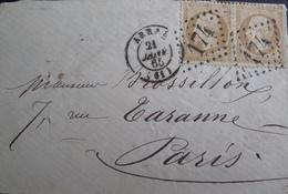 R1712/76 - ✉️ (LSC) - NAPOLEON III (PAIRE) N°21 - GC 174 : ARRAS (Pas De Calais) 21 JANVIER 1865 > PARIS - 1862 Napoléon III
