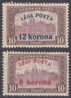 UNGHERIA - 1920 - Due Valori Nuovi MH: Yvert 4 E 5 Posta Aerea. - Airmail