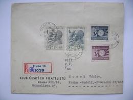 R-letter Praha Prague 1947 - Pres. Masaryk Mi 523, 524 +  1st World Festival Of Democratic Youth Mi 521, 522 - Tchécoslovaquie