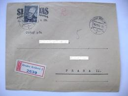 R-letter Hradec Kralove 1949 - Insurance Company Sekuritas - Writer Alois Jirasek Mi 571, 8 Kcs - Tchécoslovaquie