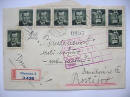 Registered Letter Olomouc 1952 - Politician Jan Sverma - 8x 1 Kcs, Mi 568 - Tchécoslovaquie