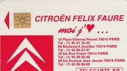 TELECARTE 50.....CITROEN FELIX FAURE MOI J'AIME.. - Francia