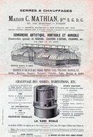 75 Paris Serres Et Chauffages MATHIAN Horticole Agricole Artistique - Advertising