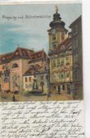 AK 0090  Wien - Freyung Und Schottenkirche / Künstler-Lithographie Um 1898 - Kirchen