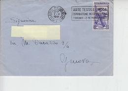 "ITALIA  1951 - Annulo Meccanico - Arte Tessile E Moda"" - Torino - Esposizione Int. - Tessili"