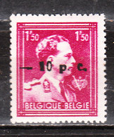 724N**  Leopold III Col Ouvert Surchargé -10% - MONTIGNIES SUR SAMBRE - MNH** - LOOK!!!! - 1946 -10%