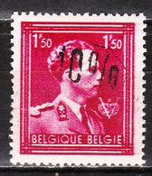 724N**  Leopold III Col Ouvert Surchargé -10% - MOUSCRON - MNH** - LOOK!!!! - 1946 -10%