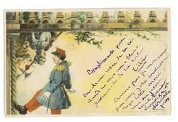 CPA HUMOUR MILITAIRE 1900 CARTE ISSUE DU CARNET DU PASSE-PARTOUT DE L'EXPOSITION 1900 - Militaria